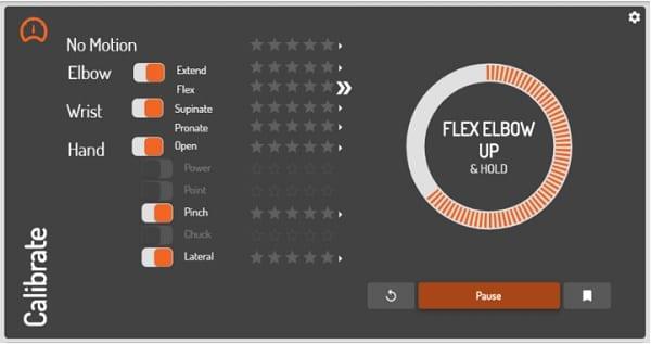 Coapt Gen2 Calibration Screen